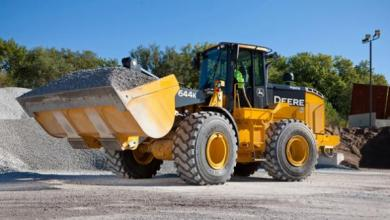 John Deere's first hybrid construction machine: the 644K hybrid wheel loader.